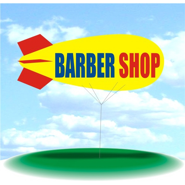 Helium Blimp Display - PVC 17' helium blimp, outdoor use, BARBER SHOP.