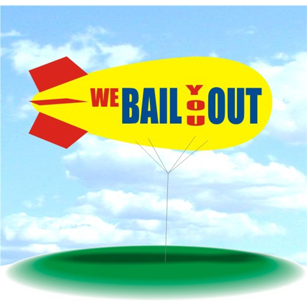 Helium Blimp Display - PVC 17' helium display blimp, indoor/outdoor use, WE BAIL YOU OUT design.