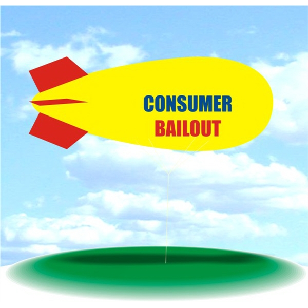 Helium Blimp Display - PVC 17' helium display blimp, indoor/outdoor use, CONSUMER BAILOUT design.