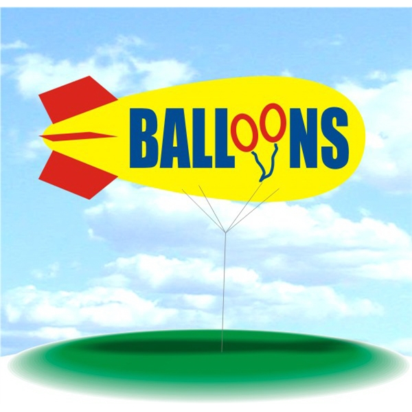 Helium Blimp Display - PVC 17' helium blimp, outdoor use, BALLOONS.  Large Inflatable Globe Balloon Blimp.