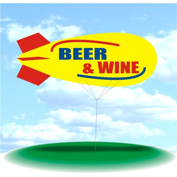 Helium Blimp Display - PVC 17' helium display blimp, indoor/outdoor use, BEER & WINE design.