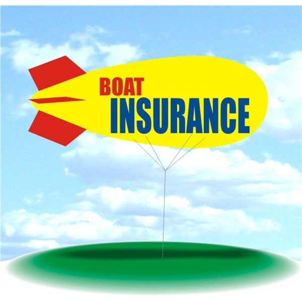 Helium Blimp Display - PVC 17' helium display blimp, indoor/outdoor use, BOAT INSURANCE design.