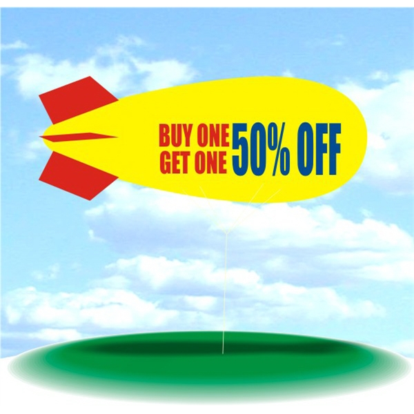 Helium Blimp Display - PVC 17' helium display blimp, indoor/outdoor use, BUY ONE GET ONE 50% OFF design.