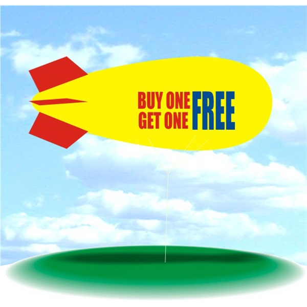Helium Blimp Display - PVC 17' helium display blimp, indoor/outdoor use, BUY ONE GET ONE FREE design.