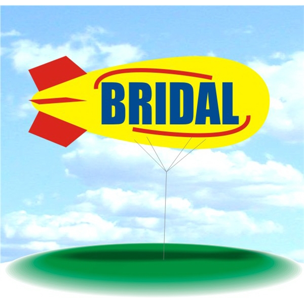 Helium Blimp Display - PVC 17' helium display blimp, indoor/outdoor use, BRIDAL design.