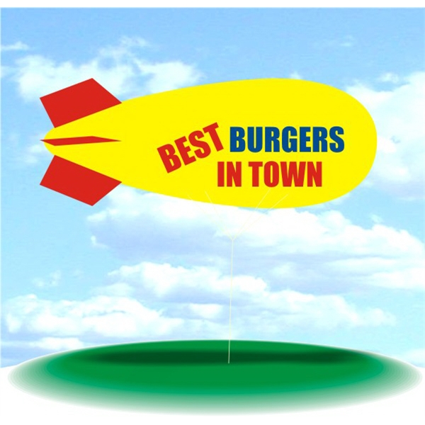 Helium Blimp Display - PVC 17' helium display blimp, indoor/outdoor use, BEST BURGERS IN TOWN design.