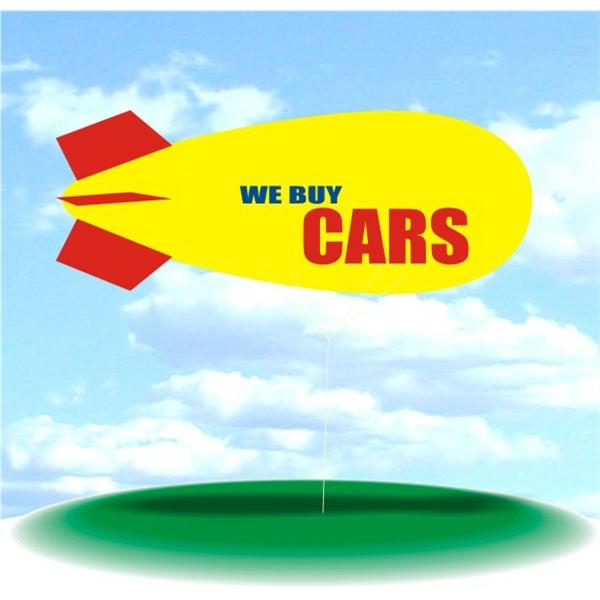 Helium Blimp Display - PVC 17' helium blimp, outdoor use, WE BUY CARS. Advertising Blimp Blimp Advertising.