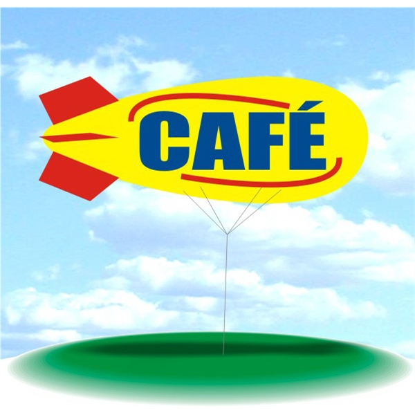 Helium Blimp Display - PVC 17' helium display blimp, indoor/outdoor use, CAFE design.