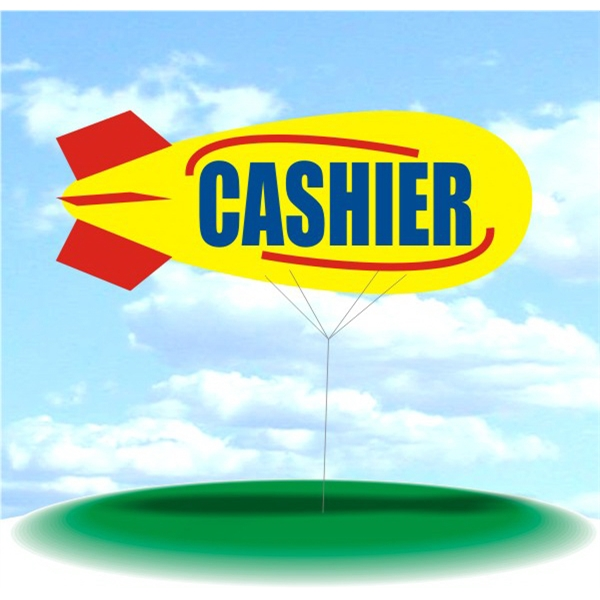 Helium Blimp Display - PVC 17' helium blimp, outdoor use, CASHIER.  Advertising Blimp Custom Inflatable.