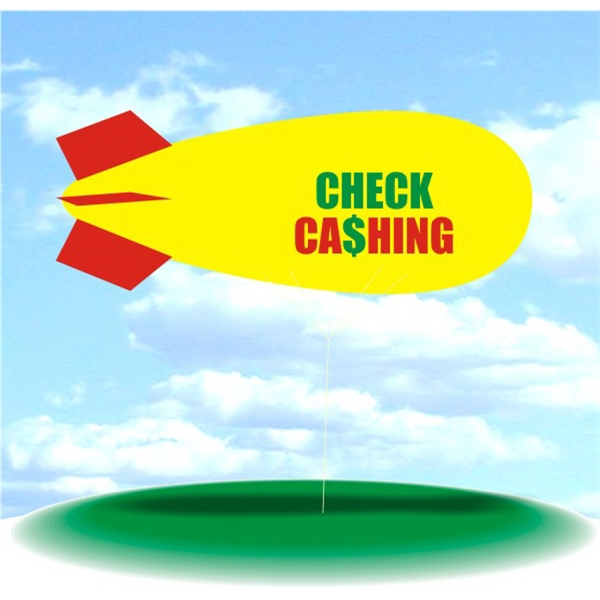 Helium Blimp Display - PVC 17' helium display blimp, indoor/outdoor use, CHECK CASHING design.