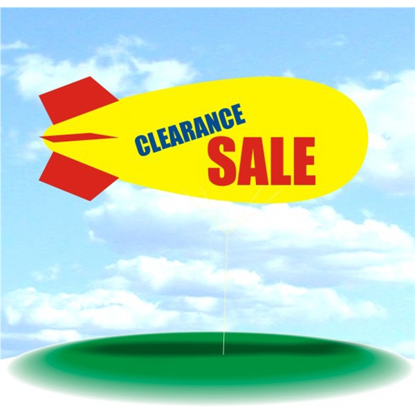 Helium Blimp Display - PVC 17' helium display blimp, indoor/outdoor use, CLEARANCE SALE design.