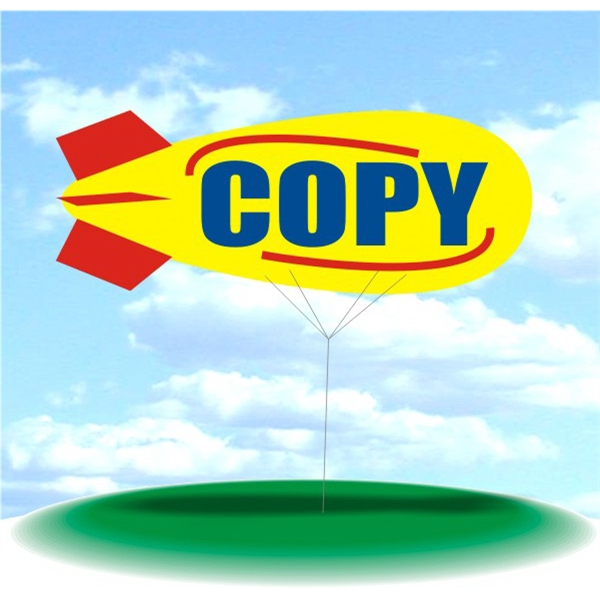 Helium Blimp Display - PVC 17' helium display blimp, indoor/outdoor use, COPY design.