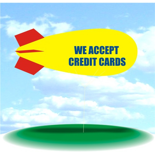 Helium Blimp Display - PVC 17' helium display blimp, indoor/outdoor use, WE ACCEPT CREDIT CARDS design.