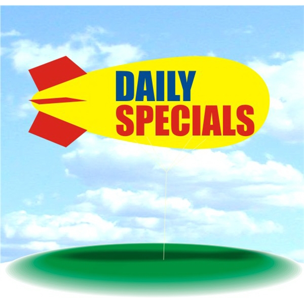 Helium Blimp Display - PVC 17' helium display blimp, indoor/outdoor use, DAILY SPECIALS design.