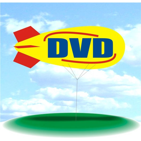 Helium Blimp Display - PVC 17' helium display blimp, indoor/outdoor use, DVD design.