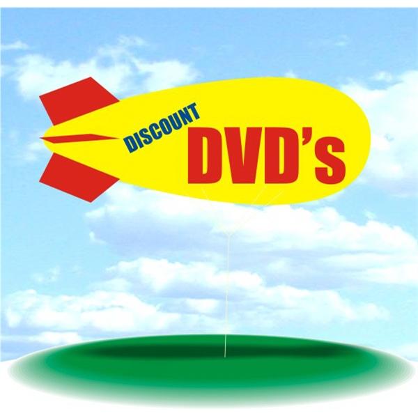 Helium Blimp Display - PVC 17' helium display blimp, indoor/outdoor use, DISCOUNT DVD'S design.