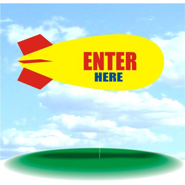 Helium Blimp Display - PVC 17' helium display blimp, indoor/outdoor use, ENTER HERE design.