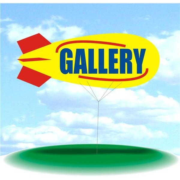Helium Blimp Display - PVC 17' helium display blimp, indoor/outdoor use, GALLERY design.