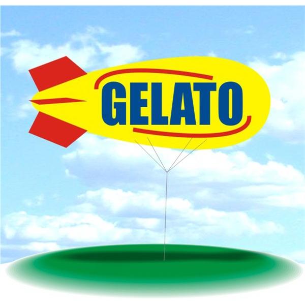 Helium Blimp Display - PVC 17' helium display blimp, indoor/outdoor use, GELATO design.