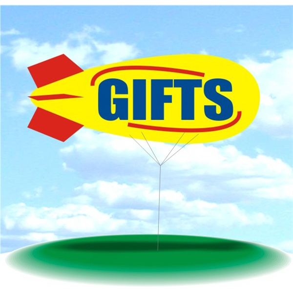 Helium Blimp Display - PVC 17' helium display blimp, indoor/outdoor use, GIFTS design.