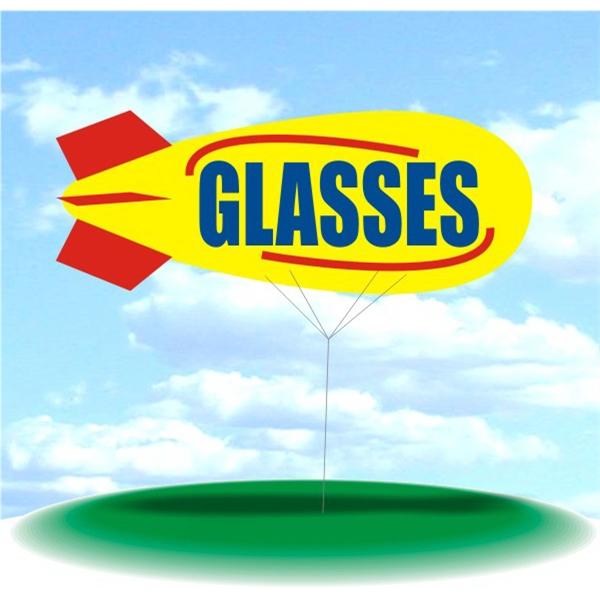 Helium Blimp Display - PVC 17' helium display blimp, indoor/outdoor use, GLASSES design.