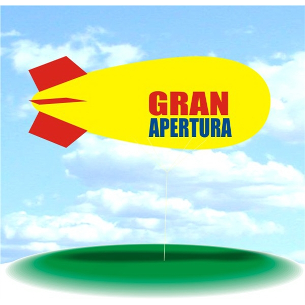 Helium Blimp Display - PVC 17' helium display blimp, indoor/outdoor use, GRAN APERTURA design.