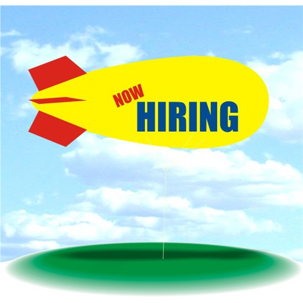 Helium Blimp Display - PVC 17' helium blimp, outdoor use, NOW HIRING. balloon blimp -blimps advertising.