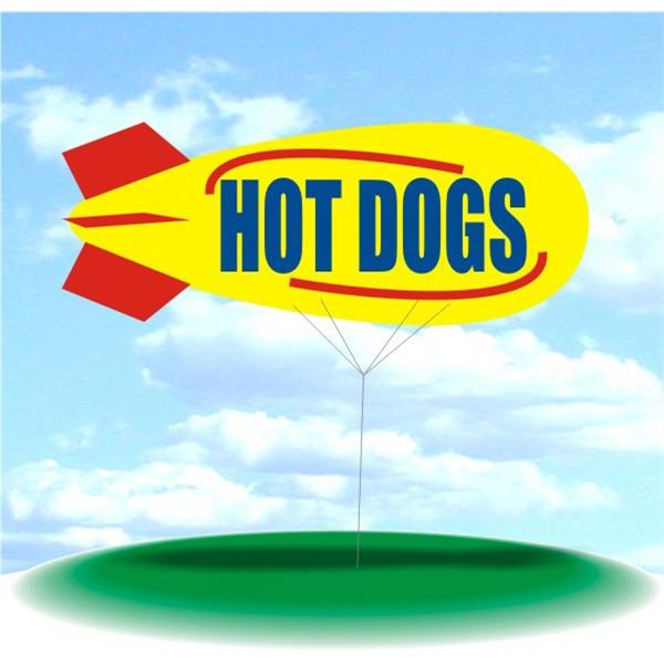 Helium Blimp Display - PVC 17' helium display blimp, indoor/outdoor use, HOT DOGS design.
