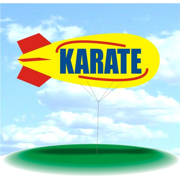 Helium Blimp Display - PVC 17' helium display blimp, indoor/outdoor use, KARATE design.
