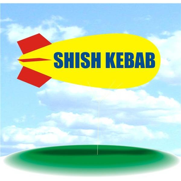 Helium Blimp Display - PVC 17' helium display blimp, indoor/outdoor use, SHISH KEBAB design.