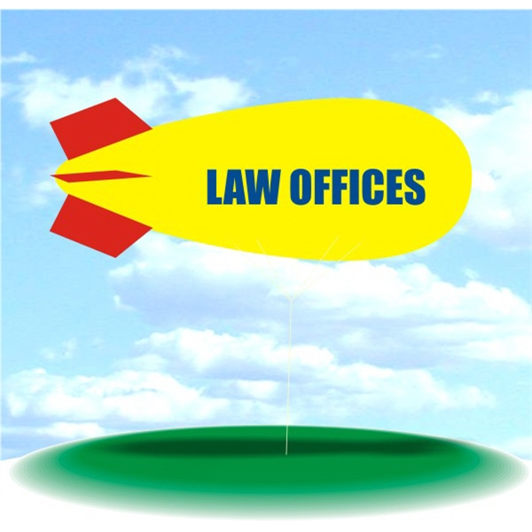 Helium Blimp Display - PVC 17' helium blimp outdoor use, LAW OFFICES.