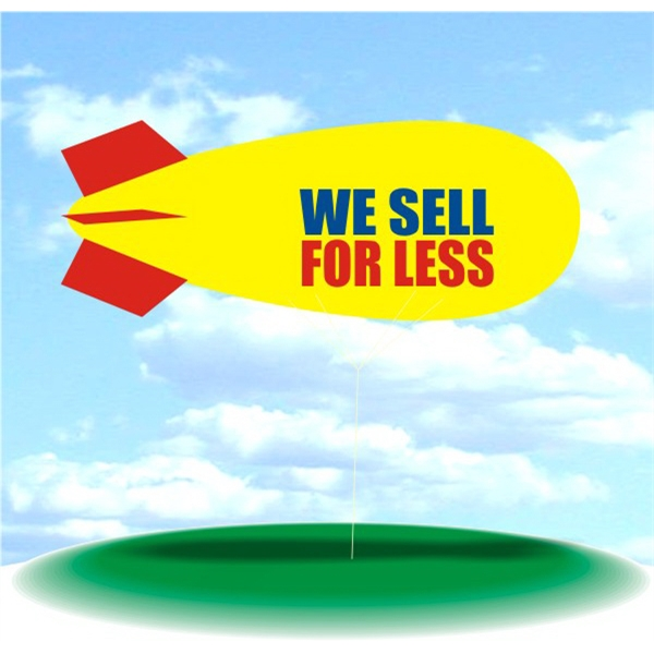 Helium Blimp Display - PVC 17' helium display blimp, indoor/outdoor use, WE SELL FOR LESS design.