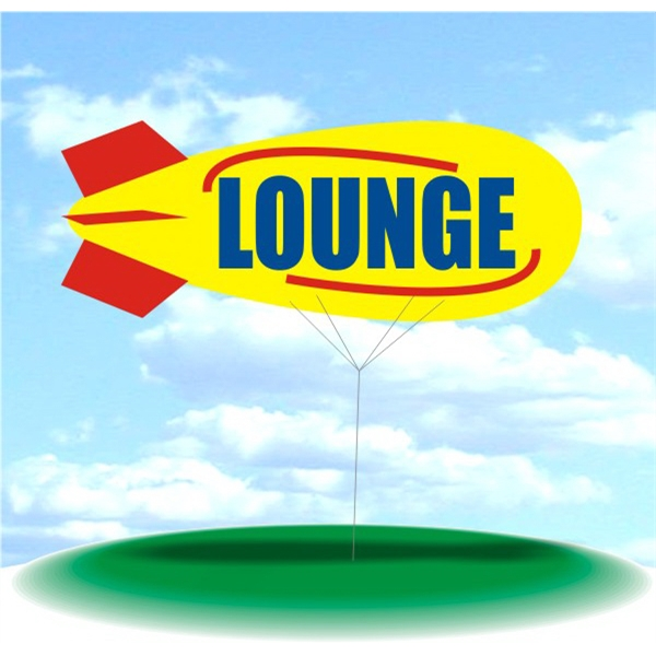 Helium Blimp Display - PVC 17' helium display blimp, indoor/outdoor use, LOUNGE design.