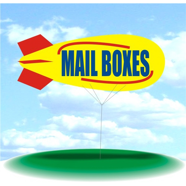 Helium Blimp Display - PVC 17' helium display blimp, indoor/outdoor use, MAIL BOXES design.