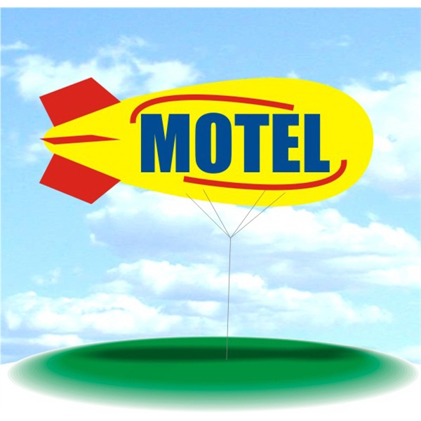 Helium Blimp Display - PVC 17' helium display blimp, indoor/outdoor use, MOTEL design.