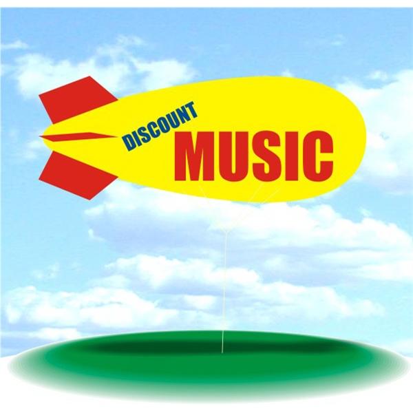 Helium Blimp Display - PVC 17' helium display blimp, indoor/outdoor use, DISCOUNT MUSIC design.