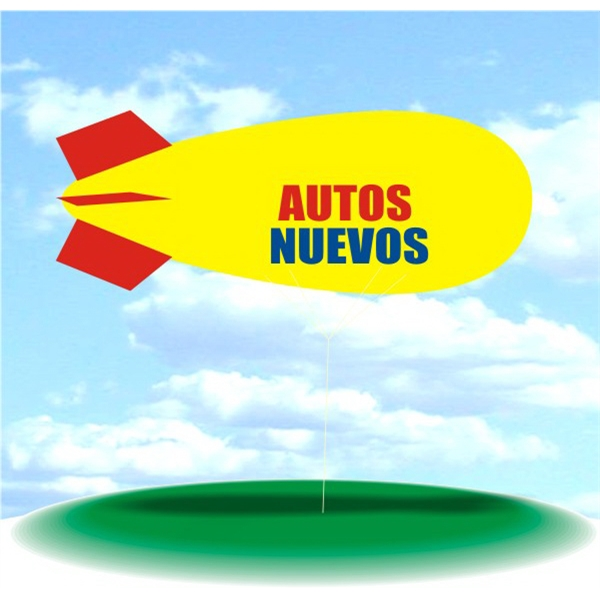 Helium Blimp Display - PVC 17' helium display blimp, indoor/outdoor use, AUTO NUEVOS design.