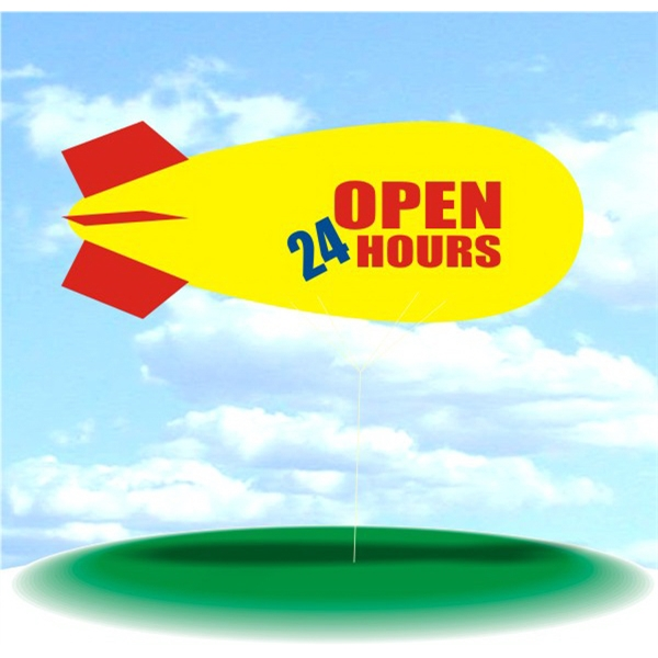 Helium Blimp Display - PVC 17' helium display blimp, indoor/outdoor use, OPEN 24 HOURS design.