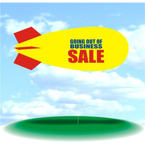 Helium Blimp Display - PVC 17' helium display blimp, indoor/outdoor use, GOING OUT OF BUSINESS SALE design.