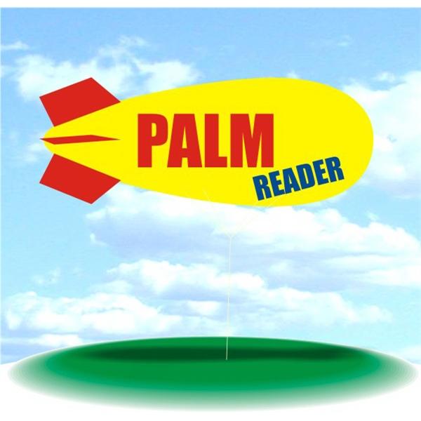 Helium Blimp Display - PVC 17' helium display blimp, indoor/outdoor use, PALM READER design.