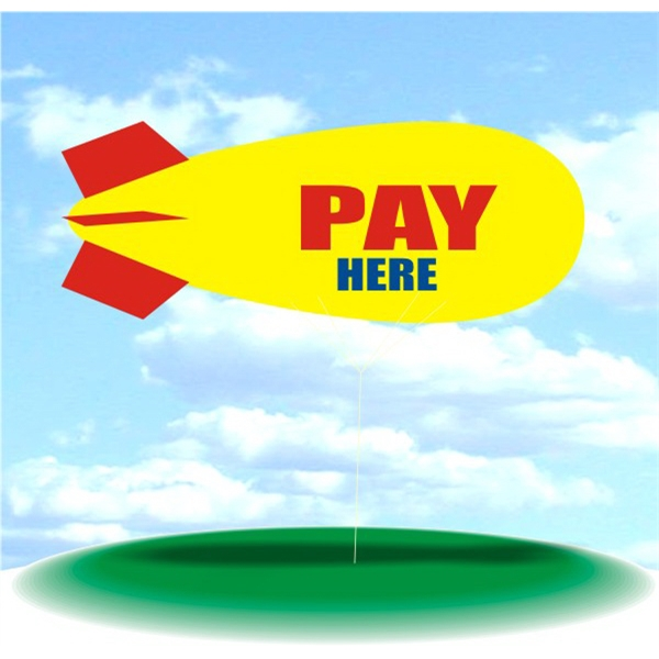 Helium Blimp Display - PVC 17' helium blimp, indoor/outdoor use, PAY HERE. blimp balloon flying blimp.