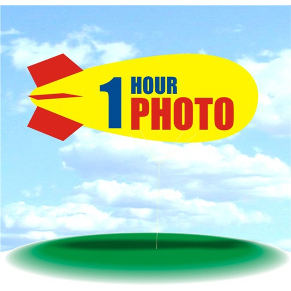Helium Blimp Display - PVC 17' helium display blimp, indoor/outdoor use, 1 HOUR PHOTO design.
