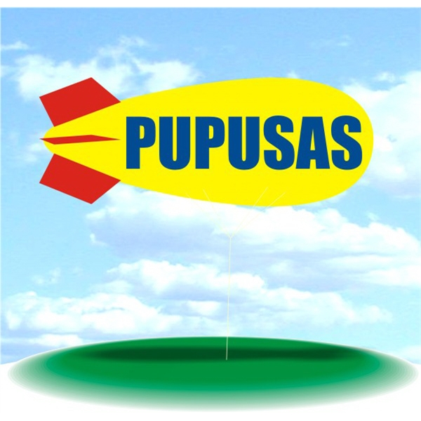 Helium Blimp Display - PVC 17' helium display blimp, indoor/outdoor use, PUPUSAS design.