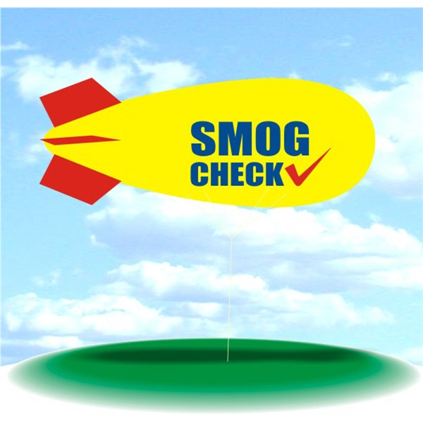 Helium Blimp Display - PVC 17' helium display blimp, indoor/outdoor use, SMOG CHECK design.