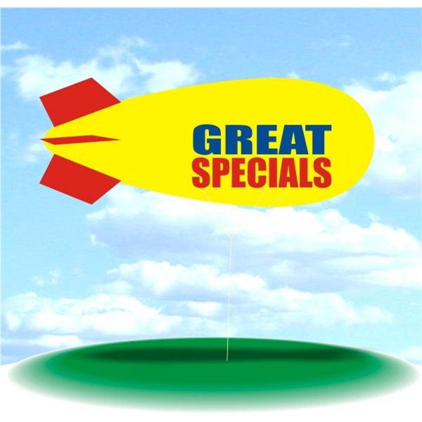 Helium Blimp Display - PVC 17' helium display blimp, indoor/outdoor use, GREAT SPECIALS design.