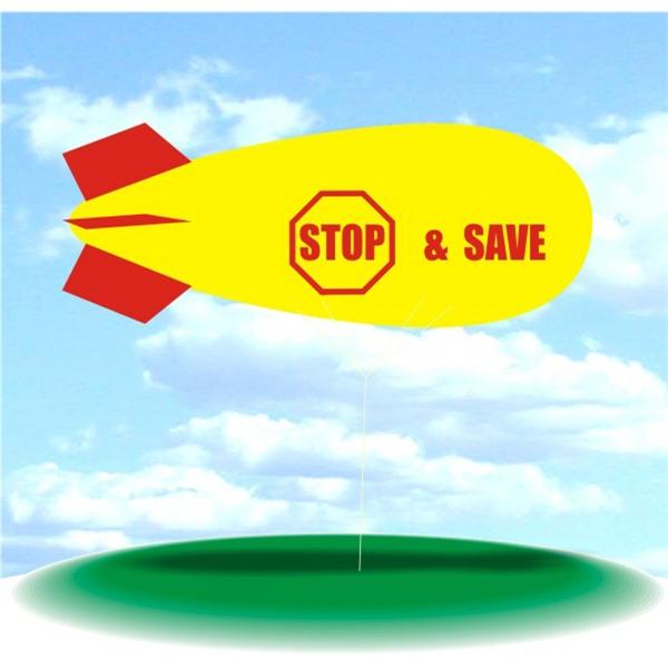 Helium Blimp Display - PVC 17' helium blimp, outdoor use, STOP & SAVE Helium Advertising Balloons.