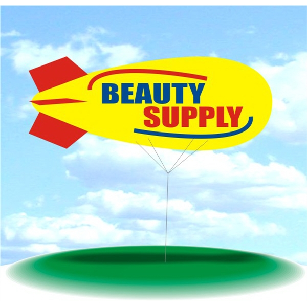 Helium Blimp Display - PVC 17' helium display blimp, indoor/outdoor use, BEAUTY SUPPLY design.
