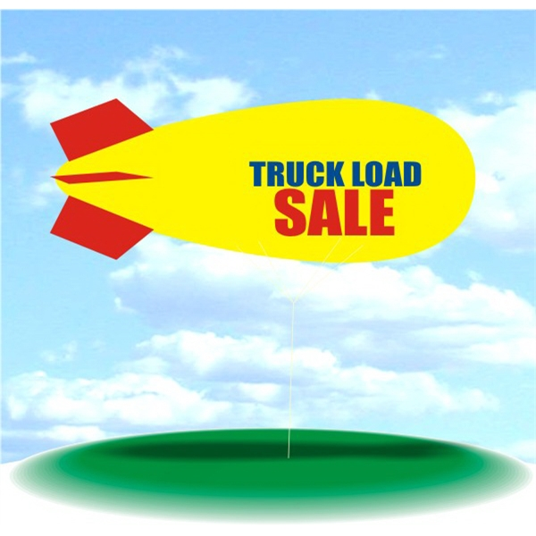 Helium Blimp Display - PVC 17' helium blimp, outdoor use, TRUCK LOAD SALE.