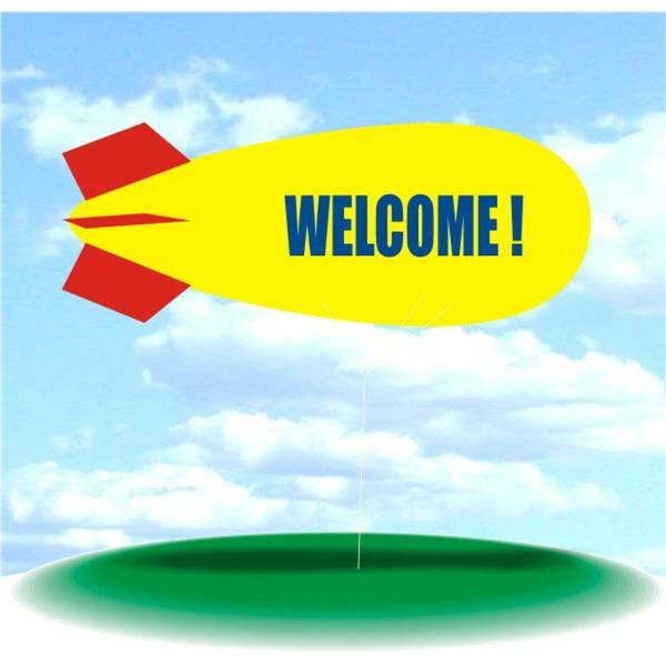Helium Blimp Display - PVC 17' helium display blimp, indoor/outdoor use, WELCOME! design.