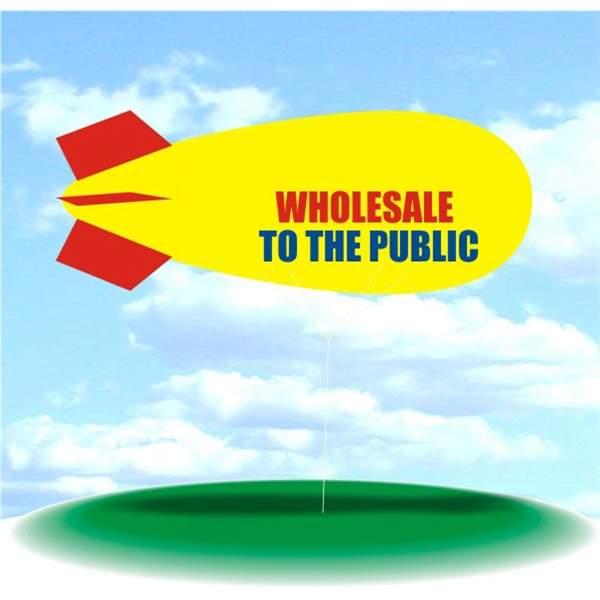 Helium Blimp Display - PVC 17' helium display blimp, indoor/outdoor use, WHOLESALE TO THE PUBLIC design.